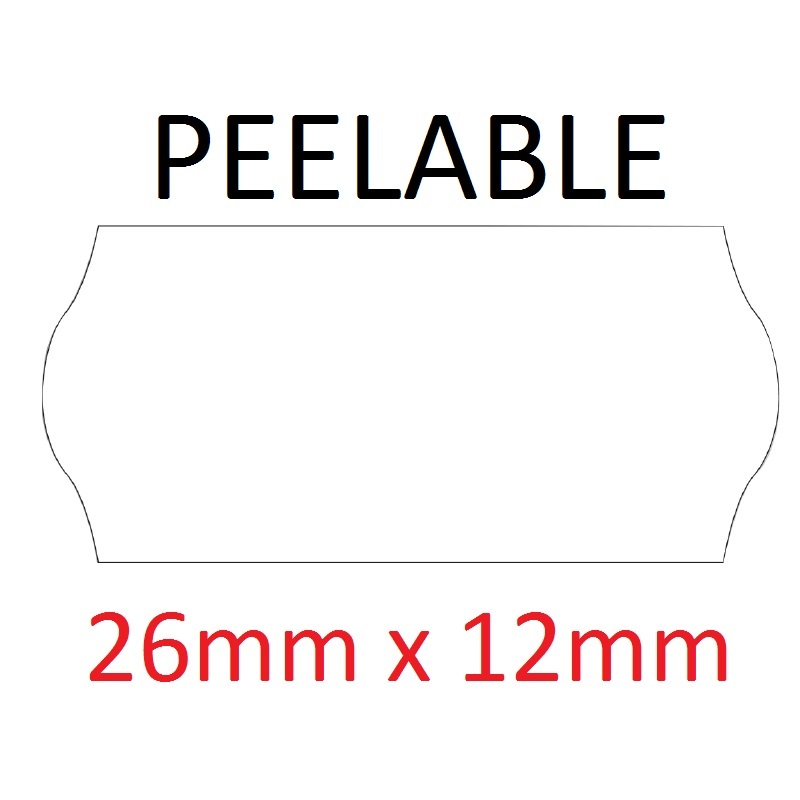 Price Gun Labels CT4 - 26mm x 12mm White Peelable - 10 Rolls