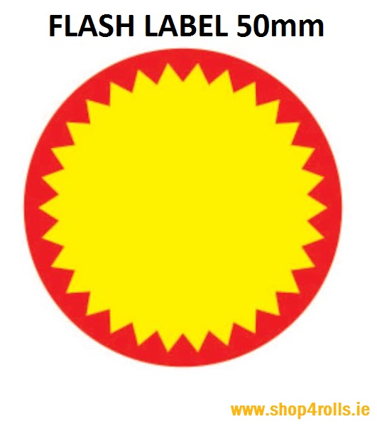 Zebra Flash Labels - 50mm Diameter - 1000 labels per roll - Price Per Roll