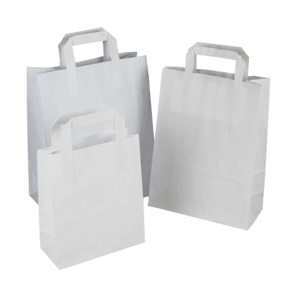 Medium White Shopping Bags 8.5